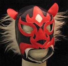Lucha Libre Wrestling Mask- Felino (Black/Red)