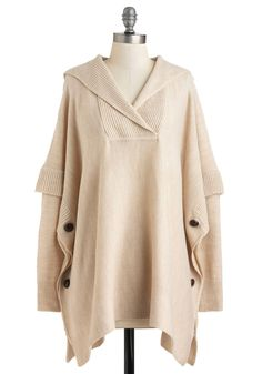 Oatmeal and About Sweater - Long, Cream, Buttons, Casual, Tent / Trapeze, Long Sleeve, Fall