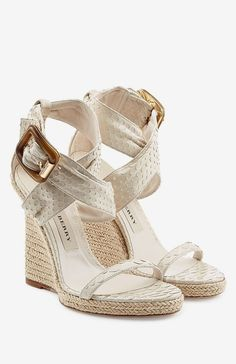 Crafted from exotic python leather, these Burberry sandals are the most glamorous way of wearing wedges. The heel is finished in a natural raffia, lending summer ease to the dramatic texture Beige Wedge Sandals, Beige Shoes, Leather Sandals, Summer Sandals, Shoes Sandals, Python, Shoe Wardrobe, Burberry Shoes, Dream Shoes