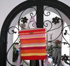 Craftrebella: Part 2/Slow Fashion: Holiday Fun - Sunrise Backpack Recycling, Slider, Holiday Fashion, Slow Fashion, Old And New, Holiday Fun, Straw Bag, Sunrise, Crochet Hats