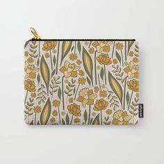 Perfect gift idea! It can be used for toiletries, art supplies, makeup and smaller electronics. Carry-all pouch is avilable in different sizes. | #pouch #society6 #murkydesign #pattern #patterndesign #floral #blossom #yellow #green #meadow #vintage #retro Art Supplies, Carry On, Pattern Design, Pouch, Electronics, Retro, Yellow, Makeup, Floral