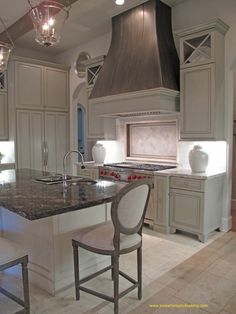 #StandardPaint Beautiful traditional kitchen.. especially love the contrast between the cabinets and painted hood