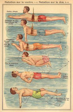LEARN to Swim...vintage swimming lessons illustration