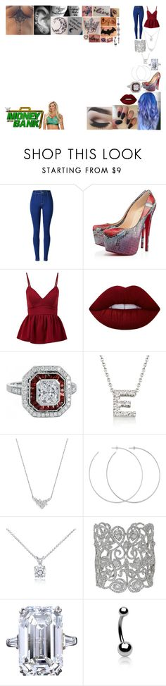 """Walking Charlotte out to her match at Money in the Bank"" by belabmilagres ❤ liked on Polyvore featuring WWE, Christian Louboutin, Lime Crime, Roberto Coin, Bloomingdale's, Allison Bryan, Blue Nile and Bling Jewelry"