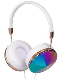 Headphones - our Taylor style in Oil Slick, with White Leather and Rose Gold accents Cute Headphones, Bluetooth Headphones, Diy Coque, Accesorios Casual, Smartwatch, Things To Buy, Phone Accessories, Headset, Just In Case