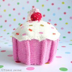 When I saw this adorable knitted cupcake Christmas tree decoration, just had to have it. Perfect for my bright vintage candy sweet Christmas theme. Christmas Themes, Christmas Tree Decorations, Vintage Candy, Cherry On Top, Good Enough To Eat, Crochet For Kids, No Bake Cake, Cupcake, Candy Sweet