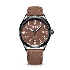 49.99$  Watch here - http://alifez.shopchina.info/go.php?t=32701139789 - BUREI 13016 Switzerland watches men luxury brand Hawker Harrier series military air force Super luminous  brown Leather belt  #magazineonline