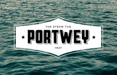 New identity for Portwey, the only twin screw, coal fired steam tug now active in the United Kingdom. The industrial period of the early century provided inspiration for the heavy typography. The wordmark is housed within a stylised plaque that compr… Water Logo, 21st Century, Typography, Behance, Boat, Logos, Movie Posters, Calligraphy, Letterpress