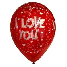 SUPER FLOT I LOVE YOU  latex Ballon. Den er tindrende blank og i den helt rigtige farve.