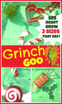 Grinch Goo Christmas Fun; stamp hearts into goo
