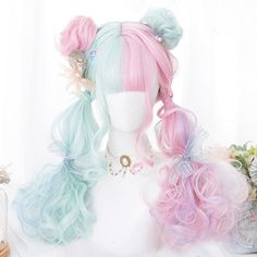 We Found Cheap Pastel Mint and Pink Mixed Color Cosplay Wig with a huge discount. Shop for Best Aliexpress Finds Aesthetic Clothing and Accessories Anime Wigs, Anime Hair, Anime Green Hair, Kawaii Hairstyles, Cute Hairstyles, Wedding Hairstyles, Hairstyle Men, Formal Hairstyles, Braided Hairstyles