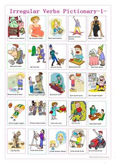 irregular verbs pictionary 1 - English ESL Worksheets for distance learning and physical classrooms English Grammar Pdf, Basic Grammar, English Verbs, Teaching English, Spanish Grammar, Spanish English, English Lessons, Learn English, Learn Spanish