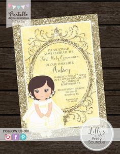 A personal favorite from my Etsy shop https://www.etsy.com/listing/262796356/printable-girl-first-holy-communion
