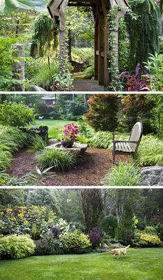 Into the Woods for a Lot Turned into Magical Garden Rooms How an ordinary suburban lot became a nature playground for kid and adults alike—with ideas anyone can use. Backyard Lighting, Natural Garden, Magical Garden, Natural Playground, Landscape Design, Gorgeous Gardens, Garden Design Images, Modern Garden, Backyard