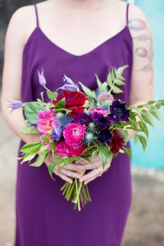 Sarah Kate  Photo; Colorful Rustic Dallas Wedding from Sarah Kate - bridesmaid bouquet
