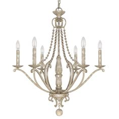 Reminisce old-world elegance and grandeur with this six-light chandelier from the Adele collection. Crafted meticulously to provide timeless flair to any space, this lighting fixture features a painted silver quartz finish with bead accents.