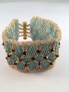 Beaded Netted Cuff Bracelet, Pale Green And Gold Glass Miyuki Beads With Gold Crystal Bicones. on Etsy, $33.72