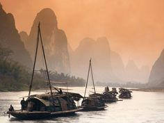 China. Cruising the Li River (Lijang) between Guilin and Yangshuo, Guangxi
