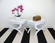 Vintage HOLLYWOOD REGENCY Pair Draper Style White