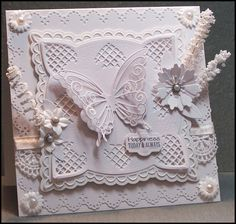 Wedding Card - White on White, lots of diecuts!