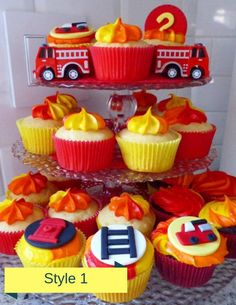 Firetruck Party Ideas to make the perfect Fire themed Party!it's time to celebrate everyone's big red truck with a Firetruck Birthday party! Firefighter Cupcakes, Fireman Cupcakes, Fire Truck Cupcakes, Fireman Cake, Fireman Party, Firefighter Baby Showers, Cupcakes For Men, Fondant Cupcake Toppers, Cupcake Cakes