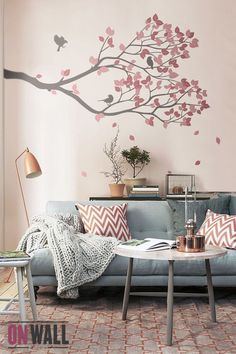 Living Room Decor - vinyle mural branche avec oiseaux - Wall Decal Wall Sticker - S002