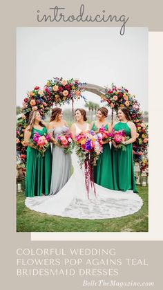 Colorful Wedding Flowers Pop Agains Teal Bridesmaid Dresses | A Wedding Planner and Florist Designs Her Own Dream Wedding Day During COVID Pandemic - Belle The Magazine | bridesmaids | bridesmaids dresses | colorful wedding | summer wedding | spring wedding | wedding flowers | fresh wedding inspiration Floral Wedding, Wedding Colors, Wedding Bouquets, Wedding Flowers, Spring Wedding, Our Wedding, Dream Wedding, Summer Weddings, Teal Bridesmaid Dresses