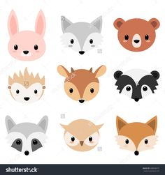 stock-vector-vector-illustration-of-six-faces-forest-animal-cartoon-animal-head-icons-cute-forests-animals-408046072.jpg (1500×1600)