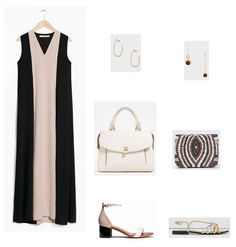 Black and blush maxi dress. Option 1.Office Outfit: gold earrings+white handbag+blush and white ankle strap midi heeled sandals. Option 2. Dinner: gold and brown long earrings+nude,brown, black and white clutch+golden flat sandals. Summer Outfits 2016
