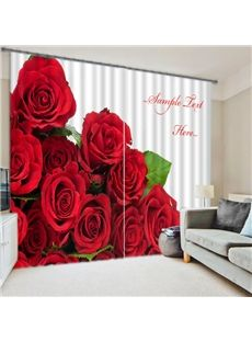 Romantic Red Roses 3D Blackout Curtain Home Decor Living Room