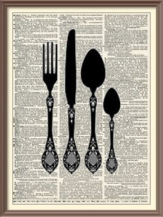 Fork Knife Spoons Silhouette Collection--$6.99, via Etsy. <<< Jess note: I want to frame this, the spray painted silverware, and do some text graphics in a frame and do a collage in the dining room>>