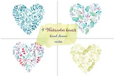 Watercolor floral hearts set by NastyaVesna on Creative Market