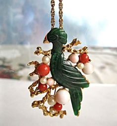 Carved Jade Bird Pendant Brooch, Hobe Signed Vintage, Coral Pearl Accents, Gold Branches, Green Cockatiel Parrot by GemParlor on Etsy