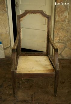 woven-back chair makeover. I want to try this, the after looks great!