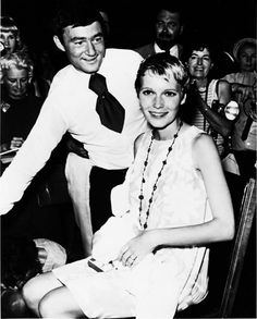 Mia Farrow: Vidal Sassoon, pictured with actress Farrow, created her famous pixie haircut for her 1968 film Rosemary's Baby. Roman Polanski flew in Sassoon to create the cut, and paid him $5,000 for it. After the film's debut, the hairstyle became one of the most sought-after looks in the world. Courtesy of the Vidal Sassoon Archive.