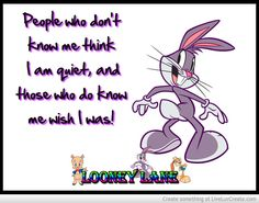 People who don't know me think I am quiet, and those who do know me wish I was