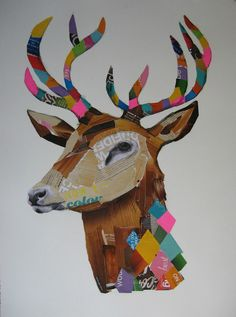 collage, deer, antlers