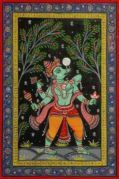Varaha Avatar - Third Incarnation of Lord Vishnu - Folk Art Paintings (Orissa Pattachitra Painting on Patti - Unframed) Mandala Art, Indian Art Paintings, Hinduism Art, Hindu Art, Madhubani Art, Mural Art, Painting, Art, Kalamkari Painting