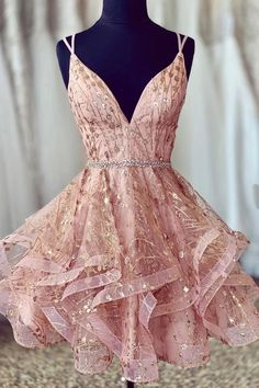 Cute Sequins Pink Homecoming Dress V-neck Beaded Short Prom Dress for your inspiration. You can wear this short prom dress to your party, which do make you the most stunning girl. Fit comfortably and looked so gorgeous. Cheap Homecoming Dresses, Hoco Dresses, Pretty Dresses, Sexy Dresses, Summer Dresses, Formal Dresses, Wedding Dresses, Graduation Dresses, Casual Dresses