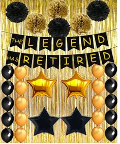 Happy Retirement Party Decorations Black and Gold The Legend Has Retired Happy Retirement Banner Latex Balloons Pom Poms Flowers - Ruhestand Retirement Party Centerpieces, Retirement Decorations, Retirement Party Decorations, Retirement Parties, Retirement Ideas, Teacher Retirement, Happy Retirement Banner, Black Balloons, Latex Balloons