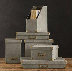 Linen Office Storage Accessories, Fog - contemporary - desk accessories - Restoration Hardware