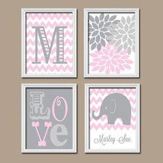 Girl Elephant Nursery Wall Art Pink Gray Nursery Artwork Monogram Name Chevron Flower LOVE Print Set of 4 Prints  Baby Decor