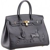 The embossed horse carriage gives this black cowhide leather Hermes Birkin a completely new look