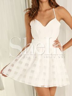 Shop White Spaghetti Strap Backless Flare Dress online. SheIn offers White Spaghetti Strap Backless Flare Dress & more to fit your fashionable needs.