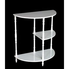Frenchi Home Furnishing Multi-Tiered End Table, White by Frenchi Home Furnishing. $48.94. Turned legs. Works well as a side table or accent table. Three (3) tiered shelves for decorative items. Excellent as a side table or accent table, this piece brings a touch of traditional style to any setting. The three tiered shelves provide plenty of space for displaying favorite decorative items. This accent table is finished in white, and features classic turned legs.