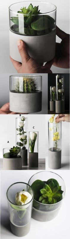 Modern Home Decor Glass Concrete Minimalist Vase Collection Flower Pots Succulen.Modern Home Decor Glass Concrete Minimalist Vase Collection Flower Pots Succulent Planter Planters Art Deco style that add a modern geometric Vase loo. Flower Vases, Flower Pots, Diy Flowers, Art Deco Stil, Vase Design, Cement Crafts, Wooden Vase, Succulents In Containers, Vase Shapes