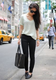 White t-shirt, black moccasins (loafers)