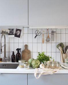 Simple grey kitchen - grey kitchen - IKEA kitchen - white metro tiles - simple utilitarian style