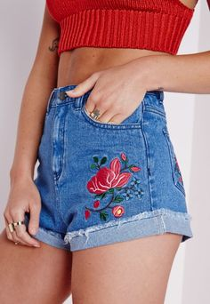 Rose Embroidered Denim Shorts Blue - Shorts - Denim Shorts - Missguided