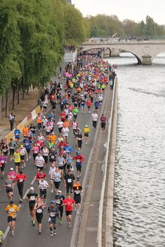 Running along the River Seine for the Paris Marathon